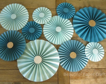 10pc Aqua Teal Rosettes | As Seen on HGTV Mag | Paper Fans Wedding | Pinwheel Backdrop Decor Paper Rosettes | Turquoise Wedding