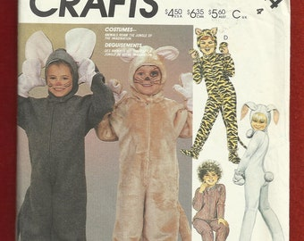 McCalls 2624 Animal Costumes for Kids Mouse Cat Bunny Size 4