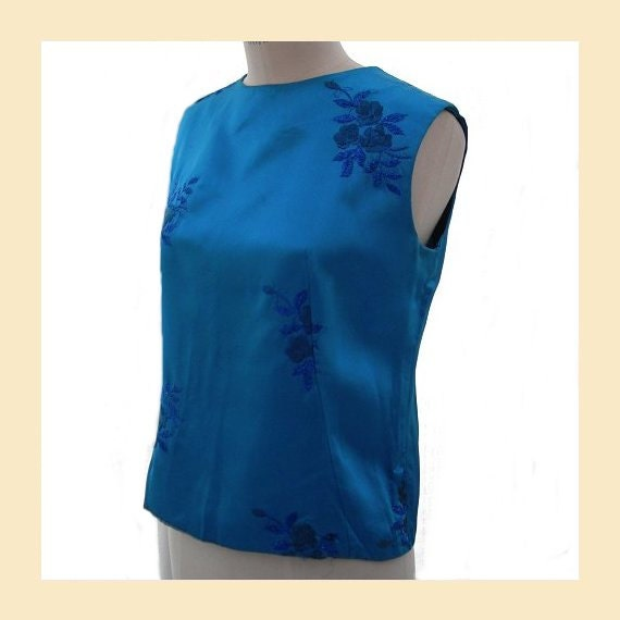 Vintage 1960s top in blue satin with floral embroidered detail, shell top, evening top, UK size 10 to 12