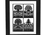 Handmade Paper Cut Silhouettes Papercutting Four Season without frame