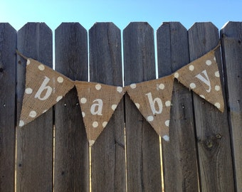 GENDER NEUTRAL BABY Shower Decorations, Burlap Baby Shower Decorations, Pregnancy Announcement Sign, Baby Shower Banner, Burlap Baby Shower
