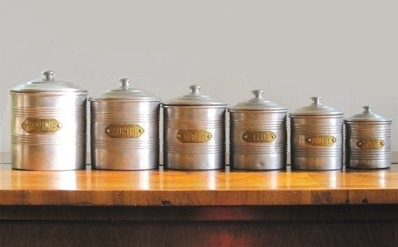Silver Tea Coffee Sugar Canisters >> Vintage Canister Set French Canisters Complete set Silver