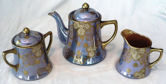 VTG Periwinkle Lusterware Tea Set Teapot Sugar Creamer Japan