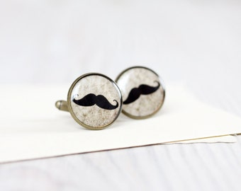 Men cufflinks - Mustache party cufflinks - Moustache Cuff links for him - Wedding Gifts for Groomsmen