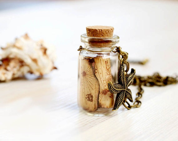 Treasure Map Bottle necklace - For traveler
