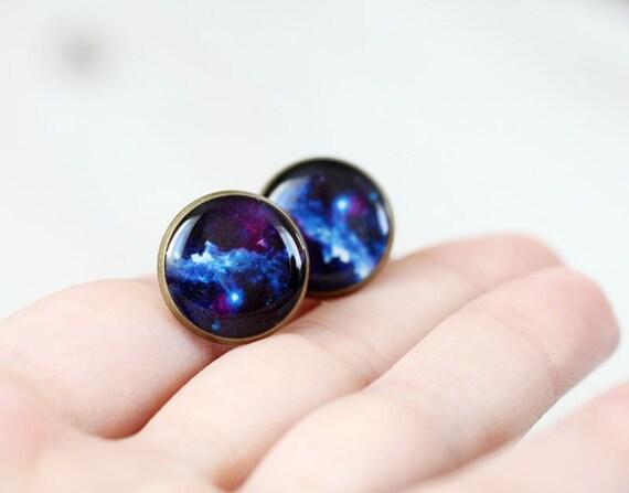 Cosmic Galaxy earrings studs - Blue ear posts - Space jewelry - Galaxy, Universe