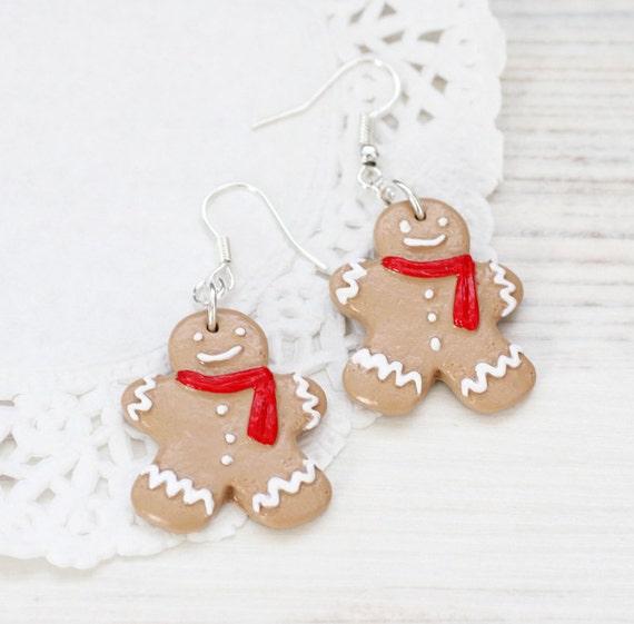 Ginger Bread man Earrings - Christmas jewelry