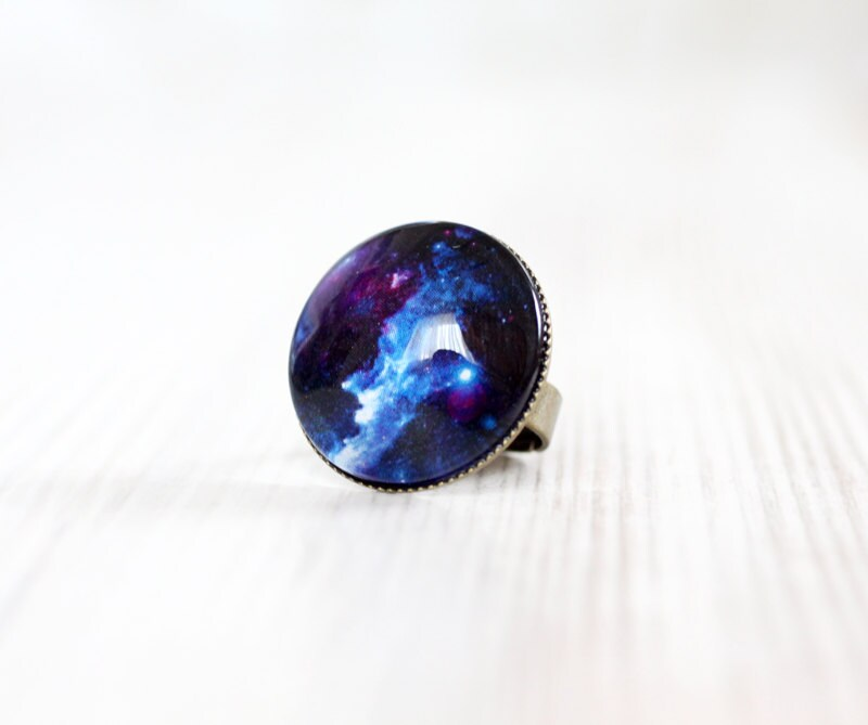 cosmic galaxy blue ring space jewelry by visitingcinderella