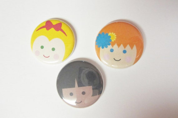Magnets, set of 3, children faces magnet, by theemae74 on etsy