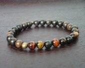 Men's Mixed Tiger's Eye Chakra Bracelet // Tiger Eye & Ebony Mala Bracelet // Yoga, Buddhist, Meditation, Prayer Beads, Jewelry