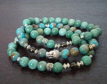 Women's Balancing Buddha Mala Bracelet Stack // Blue Sky Jasper & Smoky Quartz Bracelet Set // Yoga, Buddhist, Jewelry, Prayer Beads