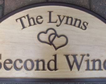 Personalized Carved Wood Sign / Plaque With Last Name/ Hearts