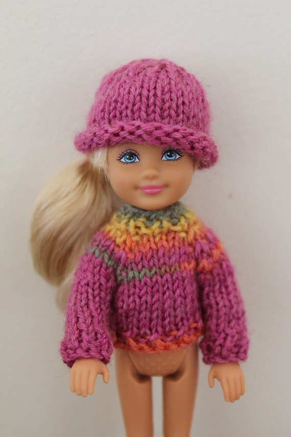 70  Handmade Knit Raglan Sleeve Sweater and Hat Set for Chelsea Sister of Barbie