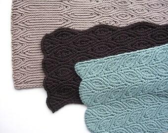 Three Almond Scarves (PDF knitting pattern)