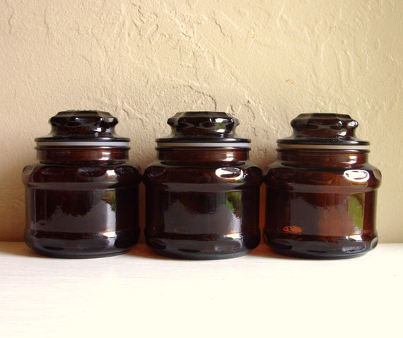 Trio of Brown Amber Glass Apothecary Jars with Lids 3 Three