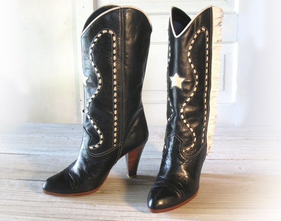 womens nina black leather high heel cowboy boots with