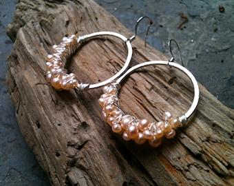 Robyn Earrings / Silver Hoops Wrapped in Freshwater Pearls