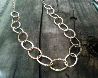 Adrienne Necklace / Large Hammered Gold Chain