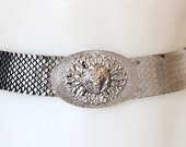 Vintage Silver Fish Scaled Metal Belt with Lion Head Belt Buckle