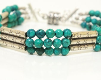Beaded Three Strand Bracelet of Hill Tribes Silver and Turquoise Blue/Green Beads