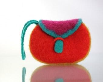 Felt Purse, Pocket Clutch (red, pink, yellow, teal)