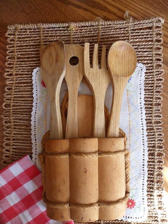 Wooden Spoons in Water Bucket,  Wooden Utensil Wall Hanging