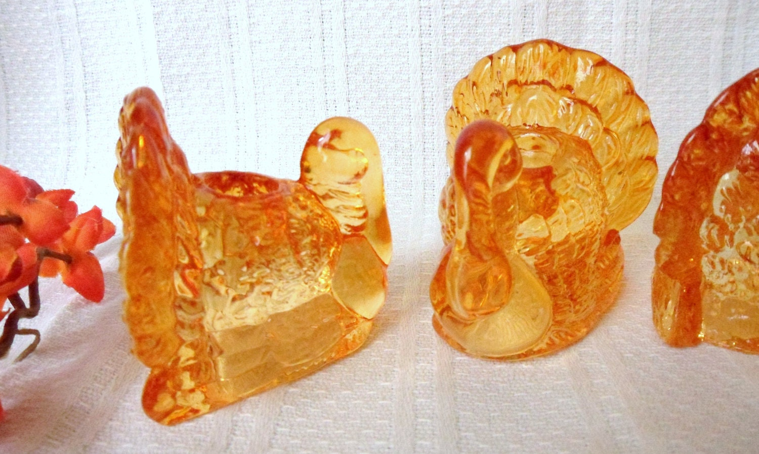 Set Of Four Glass Turkey Candle Holders William Sonoma Amber