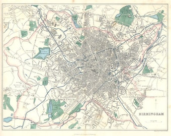 Birmingham 1866. Antique Map of Birmingham, England by J.Bartholomew 1866 - MAP PRINT