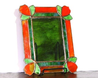 Orange Leaves Stained Glass Picture Frame