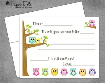 Kids Fill In Thank you Cards - Colorful Owls on Branch