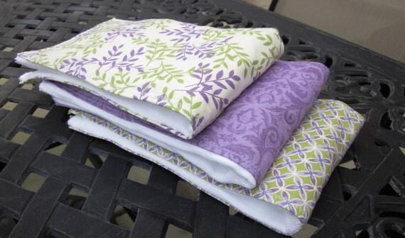 Lavender & Sage- Baby Girl Burp Cloths- Set of 3