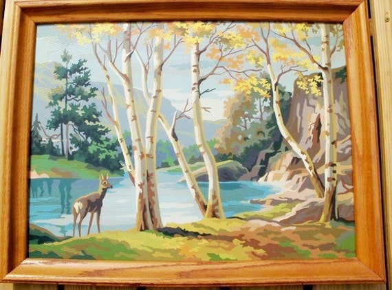 Very Large Vintage Paint By Number framed Fall Scene Doe at Deer Lake Free Shipping
