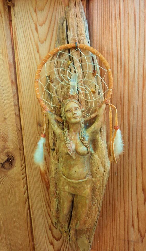 Spirited Woman With Dream Catcher, Driftwood Sculpture