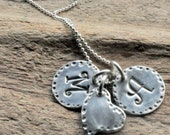 Silver Mom Necklace. Initial Charms with Heart Shape Charm.