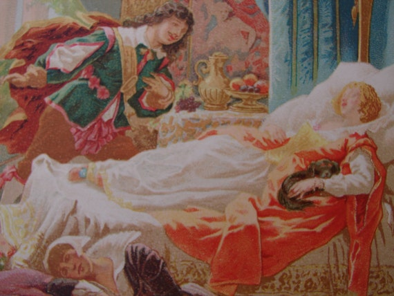 Sleeping Beauty,1900 French Victorian print,antique,rare Chromolith gravure,La Belle Au Bois Dormant