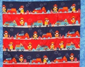 Cyber Monday Clearance Priced.  Flannel Baby Quilt in beautiful Reds and Blues, with the cutest Monkey Firemen and their trucks