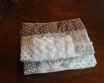Soft and Sophisticated, French, Cream and Light Chocolate Baby Quilt, So So Soft