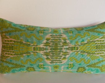 Ikat Decorative Pillow Cover 10X20 Home Decor Fabric-Throw Pillow-Accent Pillow-Aqua Green-Tan-Toss Pillow-Lumbar Pillow