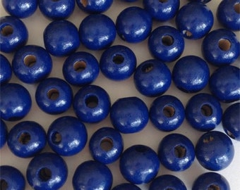 8mm  Wood Round Beads (50pc) - Blue