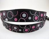"5/8"" Black Hot Pink and White Grosgrain Ribbon - 3 Yards Black Ribbon With Hot Pink and White Circles"