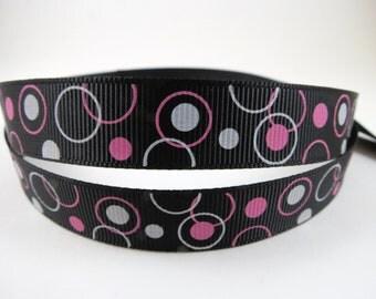 "5/8"" Black Hot Pink and White Grosgrain Ribbon - Black Ribbon With Hot Pink and White Circles - You Choose Length - Printed Black Ribbon"