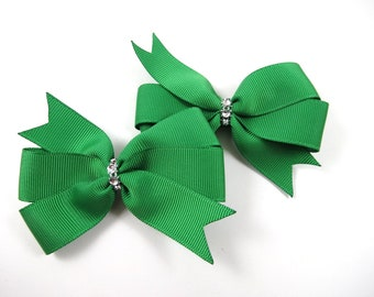 Green Hair Bows - St Patricks Day Clips - Hair Bow Set - Pigtail Hair Bows - Green and Silver Hair Clips - Toddler Teenager Adult Hair Clip