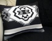 Navajo pillow, Pendleton wool pillow Rio Concho tribal graphic pattern, black, white,  grey 16 x 13