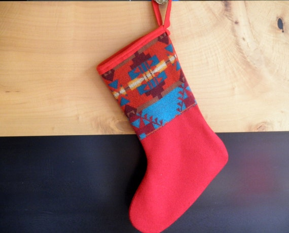 Pendleton tribal meets bright Christmas stockings, primitive pattern in blanket weight wool, Red, Turqouise,
