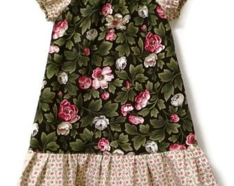 Floral Toddler Dress, Little Girls Dress, Girl Peasant Dress, Toddler Peasant Dress, Fall Dress, Girls Floral Dress, Fall Toddler Dress