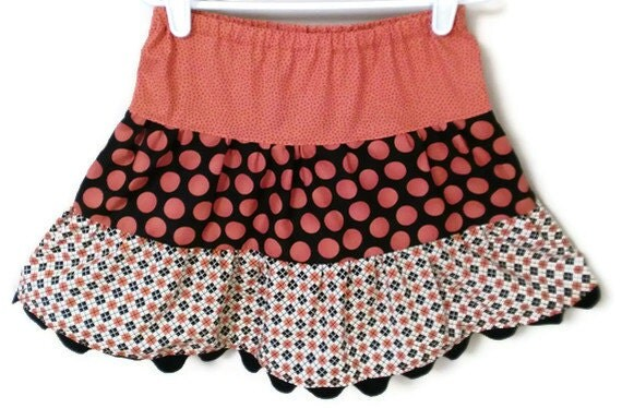 Halloween Girl's Twirl Skirt, Argyle and Dots in Black and Orange, Sizes 3T -6T, 7-10