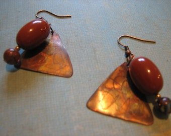 Gorgeous ooak unique tarnished brass copper and deep amber hues earrings