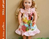 Lauren Doll Dress - PDF Pattern - Doll Size 18 inch, PDF Downloadable, Easy Pattern