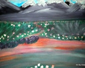 """Original Acrylic Abstract Surreal Landscape Painting on canvas """"16 x 20"""" fine art - Sunset Meadow"""