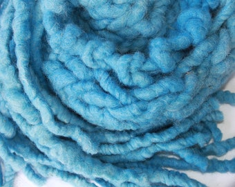 SALE Handmade Super Bulky Scarf, in Blue, of  SuperSoft Handspun Super Bulky Alpaca Merino Yarn